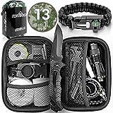 Jungle Monkey Premium Survival Kit [13er Set] - [NEU 2020] - Mit hochwertigem Messer - Taschenlampe mit Fokus Funktion - Wanderzubehör mit Verbandszeug - Optimal für Wandern und Camping