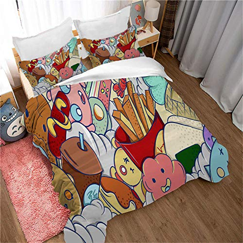 Generic Brands 3 piece bedding set Hand drawn fast food - 140x200cm 3 Pieces Bedding Set with 2 Pillowcases Duvet Cover with Zipper Closure Soft Microfiber Quilt Cover