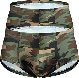 YOOBNG Men's Sexy Camouflage Mini Boxer Briefs Military Low Rise U Pouch Underwear Panties Workout Shorts Swimwear Trunks