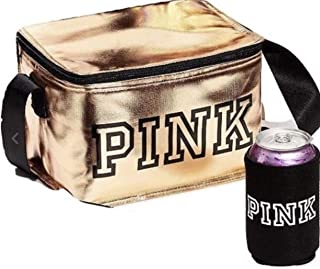 VICTORIA SECRET GOLD. COOLER/LUNCHBOX TOTE AND KOOZIE PINK