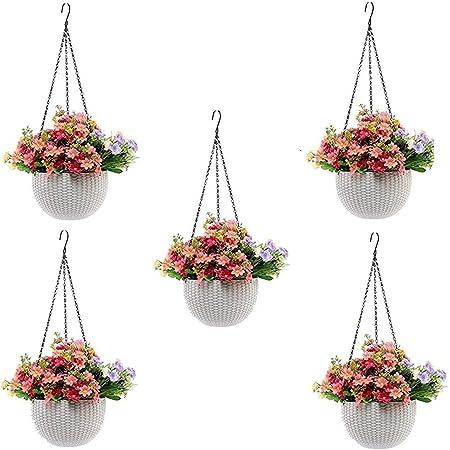 MOM'S GADGETS,White Round Rattan Woven Plastic Flower Hanging Planter/Beautiful Round Gamla Pot/Flower Hanging Pot for Garden Balcony(White,Pack of (5)
