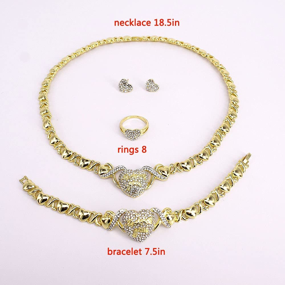 Women's Girls Hugs & Kisses XOXO 4 Pieces Necklace Set Love Heart Charm Includes Ring Bracelet & Earrings Real Gold Plated Layered