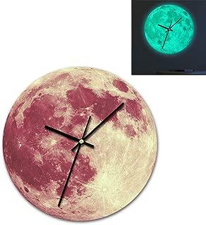 Alimao 3D Luminous Large Moon Fluorescent Wall clock Removable Glow In The Dark clocks