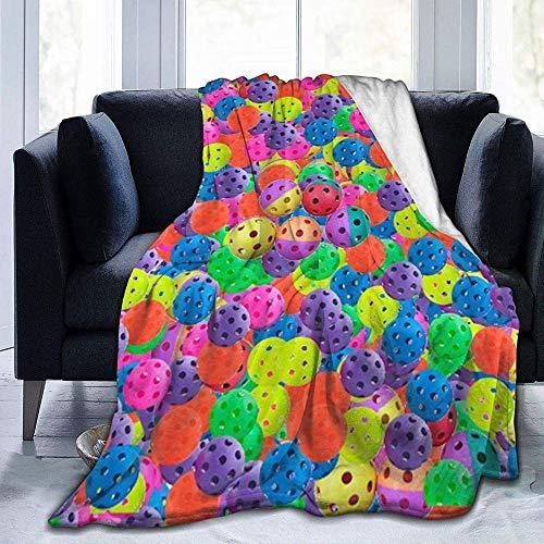 DWgatan Couverture,Couvre-lit de canapé Polyvalent Doux et Chaud de qualité Pickleball Balls Colors Pattern Printed Blanket for Bedroom Living Room Couch Bed Sofa -60\
