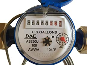 "DAE AS250U-100P 1"" Water Meter with Pulse Output, Measuring in Gallon + Coupling"