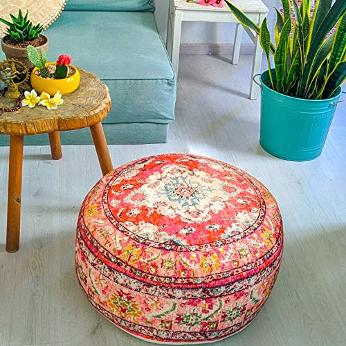 Mandala Life ART Funda de cojín de Piso Bohemian Rug - Redonda 60x20 cm - Puf de decoración de habitación Artesanal de Lujo para meditación, Yoga y Boho Chic Funda de Almohada de Piso para Asientos