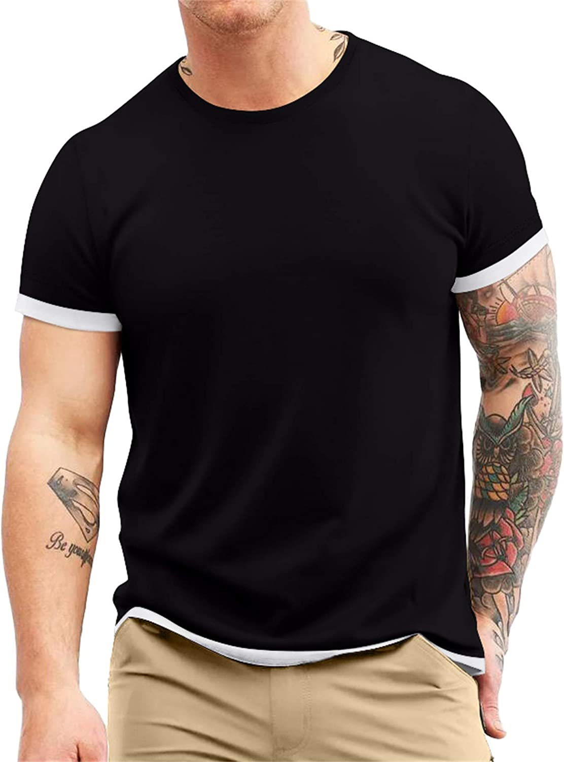Aiyino Men's S-5XL Short Sleeve Athletic T-Shirt Classic Top Casual Workout Sports Summer Shirts