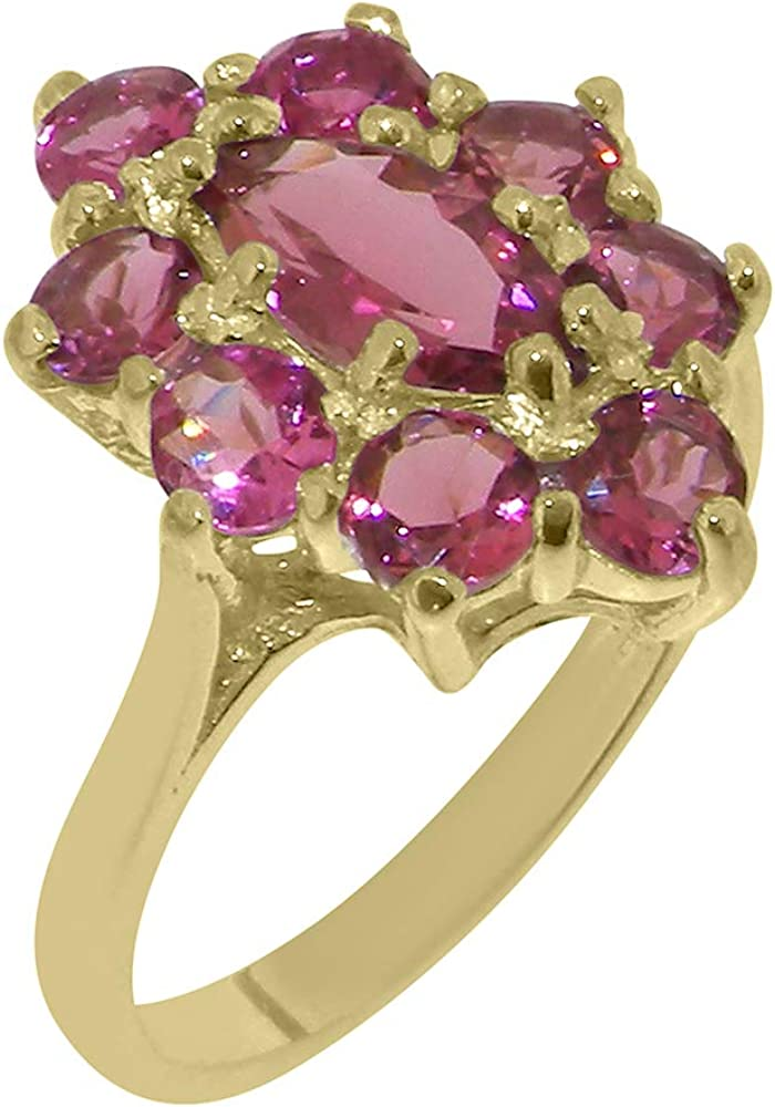 Solid 18k Yellow Gold Natural Pink Tourmaline Womens Cluster Ring - Sizes 4 to 12 Available