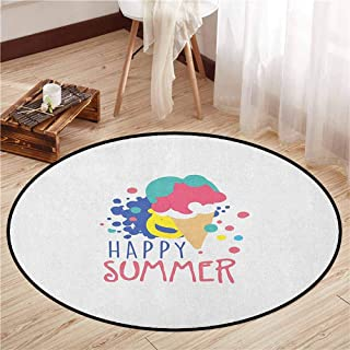 Pet Rugs,Hello Summer,Colorful Illustration with Melting Ice Cream Doodle Color Spots and Lettering,Door Floor Mat for Bedroom,5'3