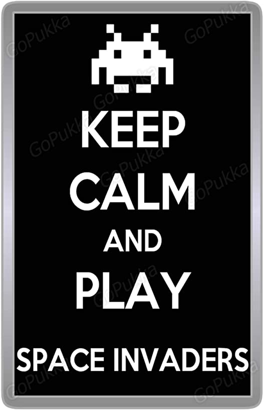 keep Calm And Play Space Invaders – Arcade Fridge Magnet (Large: 90x60mm)