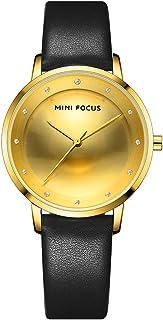MINI FOCUS Women Quartz Watch Classic Fashion Watch with Leather Strap 3ATM Waterproof Female Watch Box Package