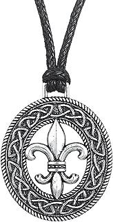 Wicca Retro Style Irish Knot Medieval Fleur De Lis LILY Flower Pattern Pendant Necklace