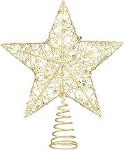 Toyvian Kerstboom Topper Star 1 Pc Golden Warm Wit Licht String Glitter Poeder Kerst Treetop Licht Christmas Party Star Vo...