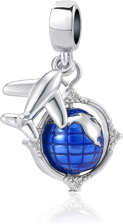 DWJSu Airplane Travel Dangle Charm Earthbound Globe Charms for Charm Bracelets for Women