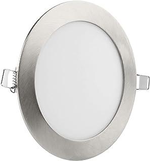 Plafonnier LED Ronde 12W Dimmable Argent Brossé Plafonnier Chaud Blanc Ultraslim Plafonnier Encastré Ø170x25mm 900LM