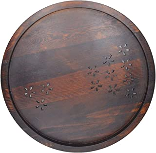 Wood Serving Tray Round Tea Tray brown 12.5inch Bed tray Food tray Breakfast tray