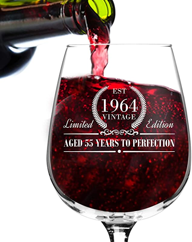1964 Vintage Edition Birthday Wine Glass For Men And Women 55th Anniversary 12 Oz Elegant Happy Birthday Wine Glasses For Red Or White Wine Classic Birthday Gift Reunion Gift For Him Or Her