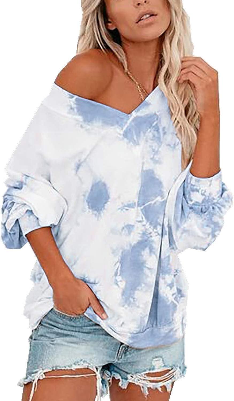 Women Trendy Tie-Dye Printed Casual Long Sleeves Loose Pullover Sweatshirt Blouse Tops (S-XXL)