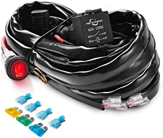 MICTUNING HD+ 12 Gauge 600W LED Light Bar Wiring Harness Kit w/ 60Amp Relay, 3 Free Fuse, On-off Waterproof Switch Red(2 L...