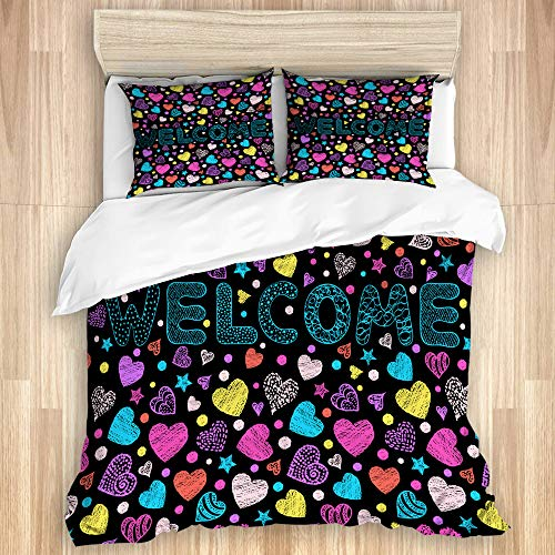 DAHALLAR Decorative Duvet Cover Set,Handdrawn colorful inscription welcome on black background,Microfibre 200x200 with 2 Pillowcase 50x80,Double