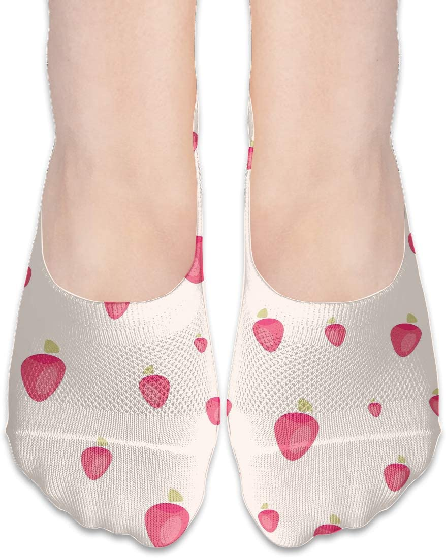 FriendEver No Show Socks Women for Flats Pink Strawberry Pattern Cotton Non Slip Athletic Low Cut Socks