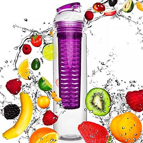 #DoYourFitness Trinkflasche mit Früchtebhälter Fruchteinsatz 800ml | Wasserflasche/Sportflasche für Fruchtschorlen/Gemüseschorlen | 100% Auslaufsicher | Spülmaschinen geeignet in Lila