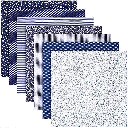 ZWOOS Tissus Patchwork ,7Pieces 50cm*50cm Patchwork Coton Textile, Imprimé Floral Tissu de Coton,Tissu Coton Patchwork Imprimé Textile pour DIY Fait à La Main Vêtements Sewing Artisanat (Bleu)