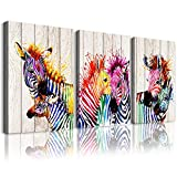 3 Pieces A zebra abstract Watercolor painting Canvas Wall Art for living room Wall Decor for bedroom kitchen decorations animal posters Canvas Prints artwork Modern framed bathroom Home decoration
