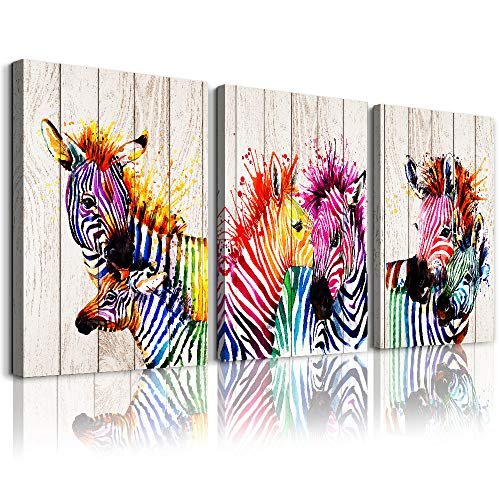 3 Pieces A zebra abstract Watercolor painting Canvas Wall Art
