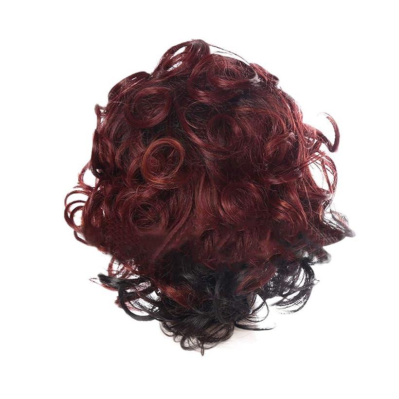 アレキサンダーグラハムベル競争気候の山女性の赤い短い巻き毛の人格爆発ヘッドかつら35 cmをかつら