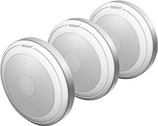 [Versión Mejorada] SOAIY Luz LED Nocturna con Pilas, Lámpara con Sensor al Tacto para Armario, Habitación, Pasillos, Escaleras, Coche [Clase de eficiencia energética A++]