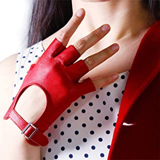 Real Leather Half Finger Short Gloves Black White Red Lambskin Fingerless Sports Cycling Driving Cosplay Gloves