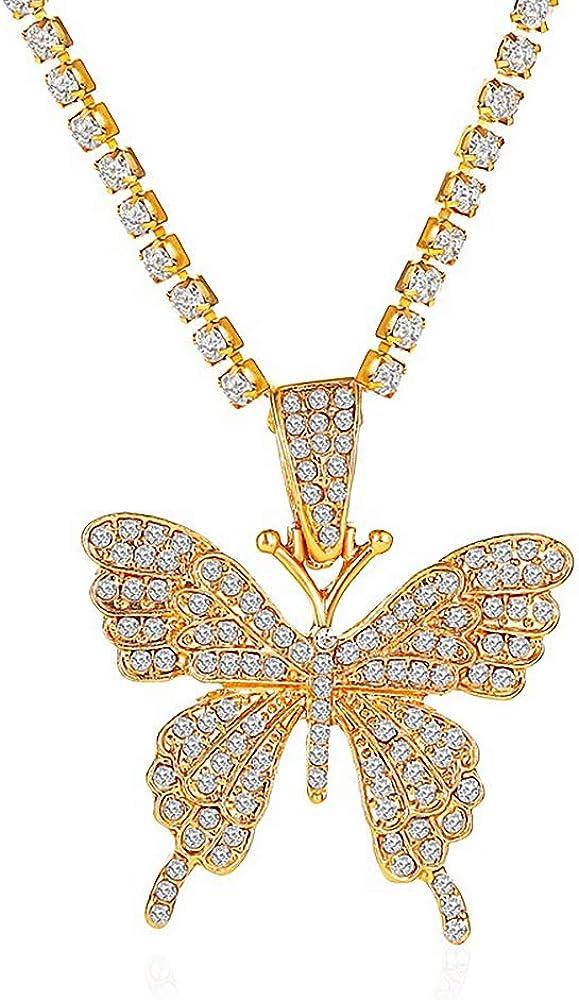 Butterfly Rhinestone Pendant Necklace Choker Collar,Punk Bling Iced Out Rhinestones Butterfly Necklace Women Teen Girls Rock Hip Hop Jewelry