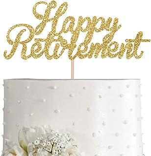 Gold Glitter Happy Retirement Cake Topper, Gold Glitter Women or Men Retirement Party Decorations, Supplies
