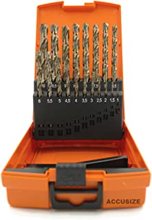 Accusize Industrial Tools M35 H.S.S. plus 5% Cobalt Metric Drill Set, 135 Deg Split Point, 1 to 10mm by 0.5mm in Plastic Box, 3110-1119