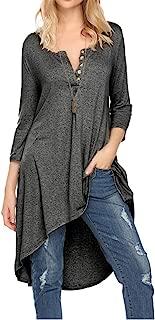 Naggoo Women's Half Sleeve High Low Loose Fit Casual Tunic Tops Tee Shirt Dress