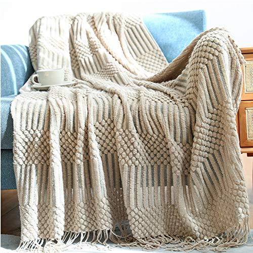 JIAYANLH Kuscheldecke Strick Strickdecke Warme Weiche Decke Sofaüberwurf Decke Wendedecke Kuscheldeck Sofadecke Couchdecke (D,127 * 152CM)