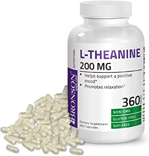 L-Theanine 200mg (Double-Strength) with Passion Flower Herb - Reducing Stress and Promoting Relaxation Without Sedation - Non GMO Gluten Free Soy Free Formula, 360 Capsules