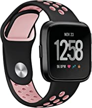 Fitbit Versa Bands,Mangix Sport Silicone Replacement Breathable Strap Bands for New Fitbit Versa Smart Fitness Watch (Black/Pink)