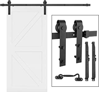 Barn Door Hardware Kit,eletecpro 6.6FT Single Rail Heavy Duty Sliding Roller Barn Door Track Kit Soft Close Super Smoothly and Quietly, Fit 36