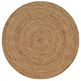 Iron Gate Handspun Jute Braided Area Rug 6 feet Round, Handmade by Skilled Artisans, 100% Natural Jute Yarns, Thick Ribbed Construction, Reversible for Double The Wear, Rug Pad Recommended