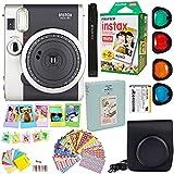 Fujifilm Instax Mini 90 Neo Classic Instant Film Camera (Black) + Fuji Instax Film Twin Pack (20PK) + Accessories Kit/Bundle + Fitted Case + 4 Filter Lens + Frames + Photo Album + More