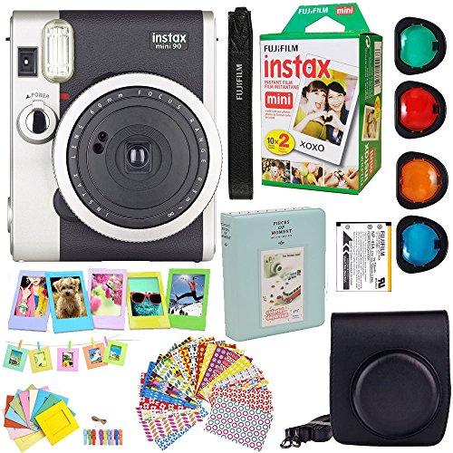 Fujifilm Instax Mini 90 Neo Classic Instant Film Camera (Black) + Fuji Instax Film Twin Pack (20PK)...