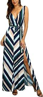 MISOMEE Women Chevron Stripes Backless Belted Slit Maxi Dress