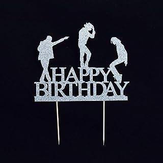 YUINYO Glitter Happy Birthday Cake Topper Dance Cake Toppers Happy Birthday Cake Bunting Birthday Party Decoration Supplie...