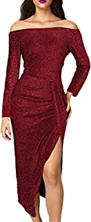 Ancapell Women's Off The Shoulder Long Sleeve Metallic Glitter Party Midi Dress Ruched High Slit Formal Dress for Women …