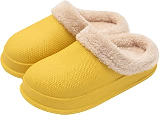 Fashion INS Slippers Plush Lined Slip On House Shoes Soft and Warm, Durable EVA Waterproof Non-Slip Indoor & Outdoor Sandals for Adult Boy Girl Yellow