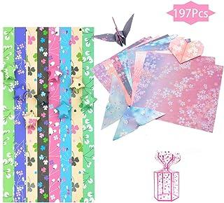 SwirlColor Origami Papel, Papel Origami Estrella Trébol de Cuatro Hojas Papel Origami Cuadrado de Flores De Doble Cara para Bricolaje Arte Artesanal