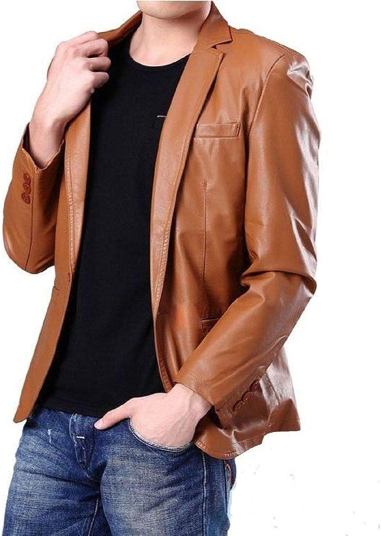 New Fashion Style Men's Sport Coat Jacket Leather Slim Fit Casual Blazer Jacket (Brown)
