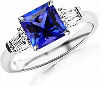 1.1 Carat t.w 14K White Gold Prong Set Round And Baguette Diamond Engagement Ring w/a 0.75 Carat Princess Cut Purple Tanzanite Heirloom Quality